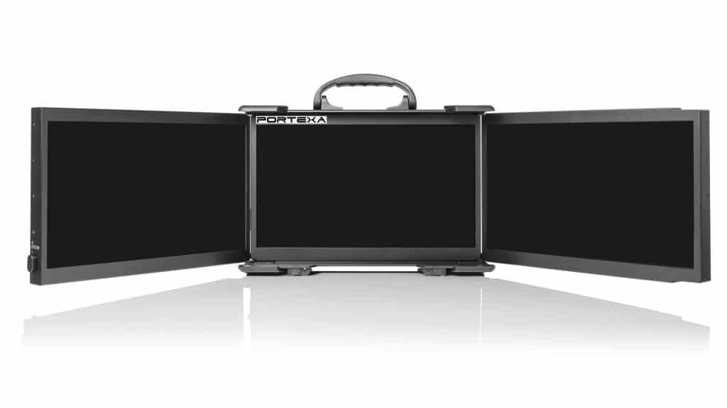 Portable triple screen display open