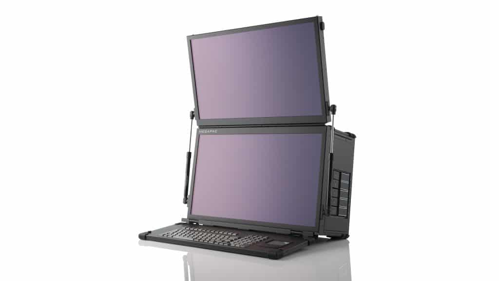 "Dual 24"" 4K display portable workstation computer"