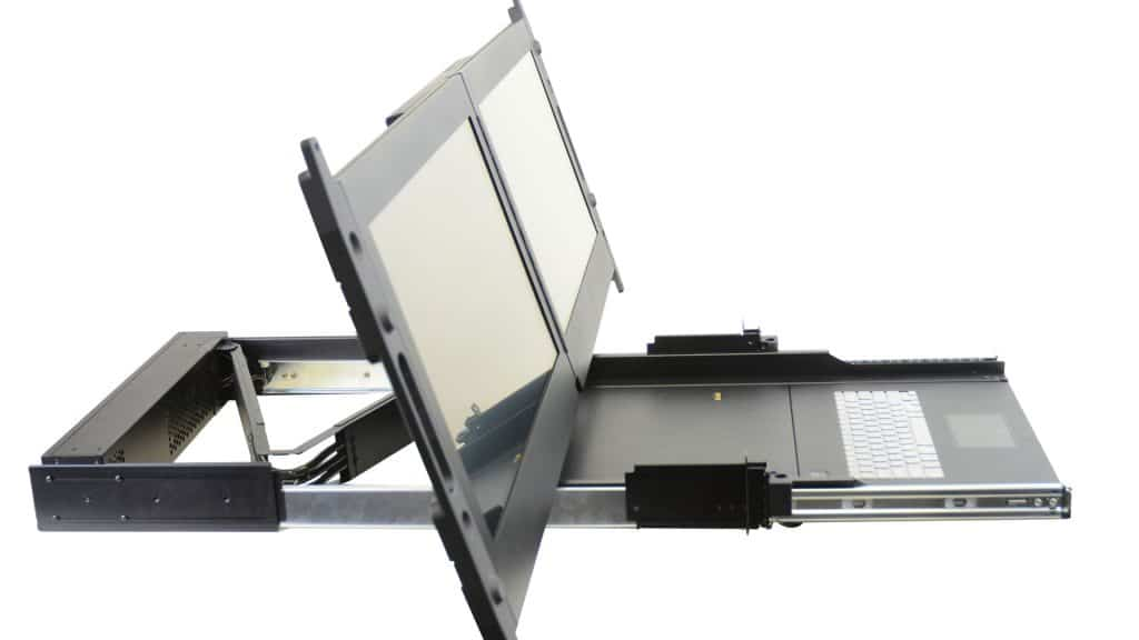 """Side view of 23"""" dual rack mount monitor"""