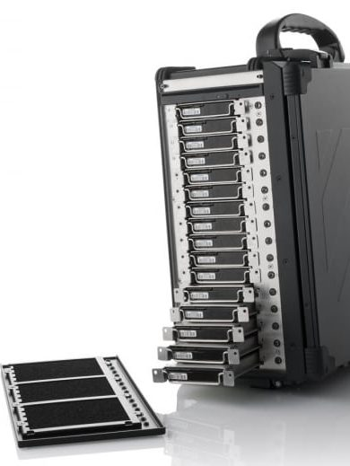 16 individually removable drives in a portable server