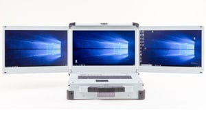 Three screen laptop with PCIe expansion and Xeon processor