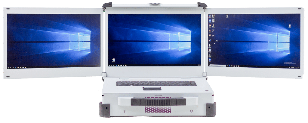 Three screen rugged laptop with Xeon processor and 8 Ethernet ports