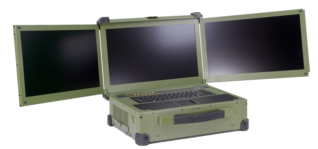 Triple screen rugged laptop server. Mil-Std tested including Mil-DTE-901E