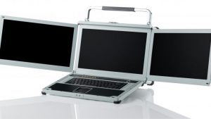 Three screen workstation with triple displays deployed