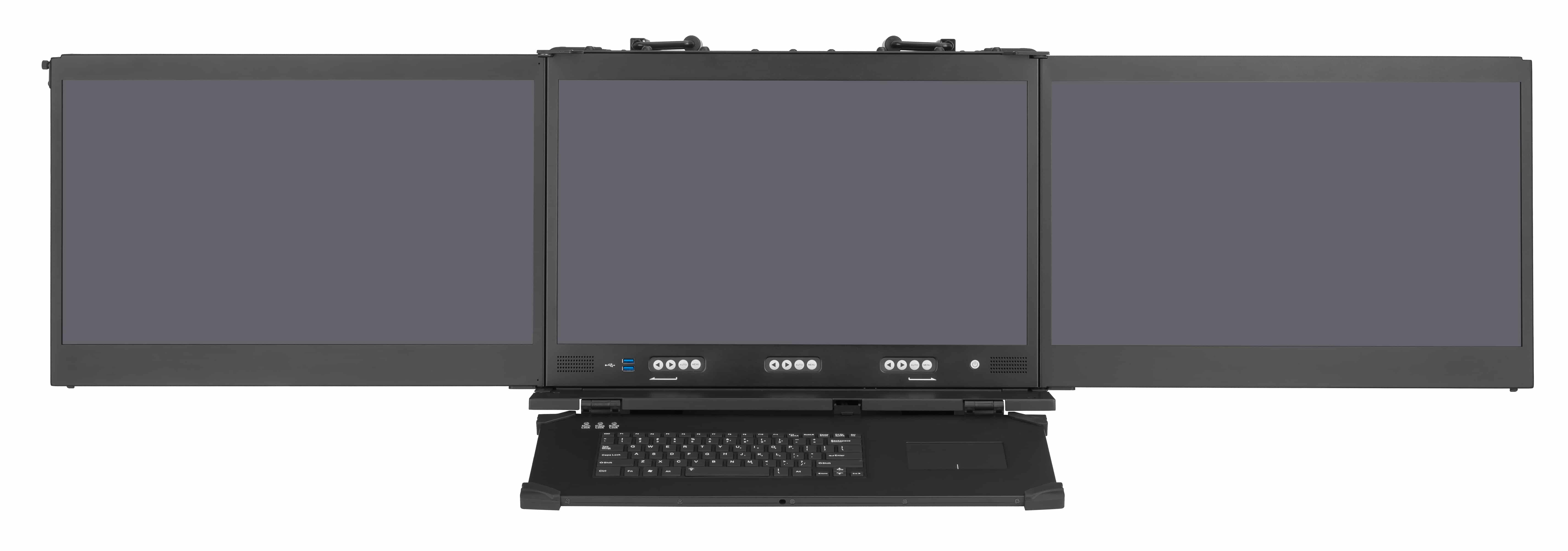 Triple screen rugged workstation with optional projected capacitive touch screen
